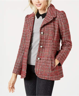 Maison Jules Plaid-Print Pea Coat