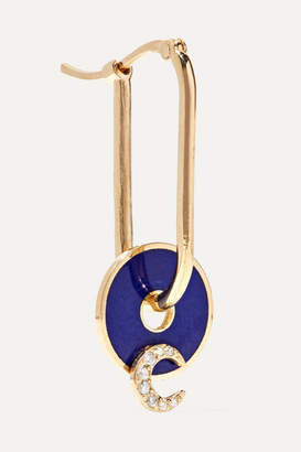 Foundrae - Crescent 18-karat Gold, Diamond And Enamel Earring