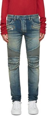 Balmain Blue Distressed Biker Jeans $1,475 thestylecure.com