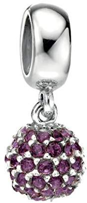 Swarovski Elements Silver Sterling Silver Drop Crystal Bead - Amethyst