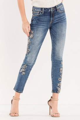Miss Me Rose-Embroidered Midrise Ankle-Skinny