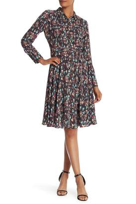Nanette Lepore Floral Pintuck Pleated Shirt Dress