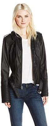 Celebrity Pink Junior's Zip Front Vegan Leather Moto Style Jacket