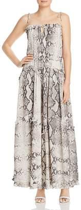 MISA S/W/F Harmony Snakeskin-Print Maxi Dress