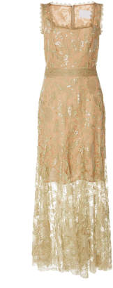 Costarellos Sleeveless Sequin Tulle Midi Dress