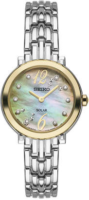 Seiko Women's Tressia Solar Diamond Accent Stainless Steel Bracelet Watch 23mm SUP354 $395 thestylecure.com