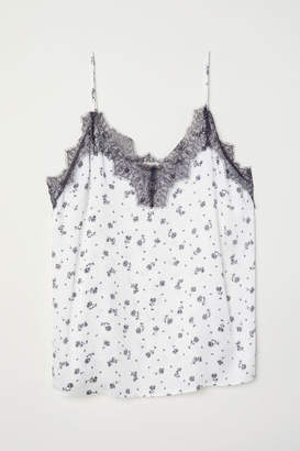 H&M H&M+ Satin Camisole with Lace - White