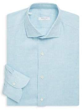Boglioli Slim-Fit Spread Collar Linen Dress Shirt