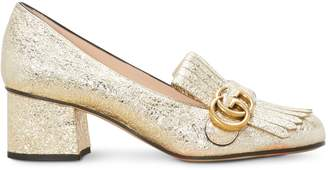 Gucci Metallic mid-heel pump