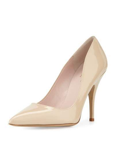 Kate Spade New York Licorice Patent Leather Point-Toe Pump, Powder