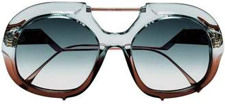 Fendi Eyewear Blue And Brown Tropical Shine Aviator Sunglasses