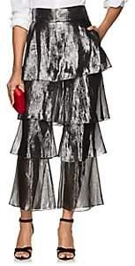 Osman Women's Felix Silk-Blend Lamé Flounce Pants - Silver