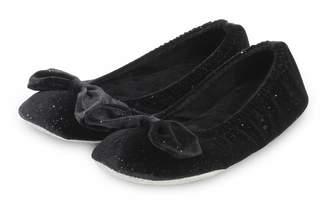 556e34ce2a4 Isotoner Ladies Sparkle Velour Big Bow Ballet Slippers