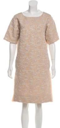 Rochas Metallic Knee-Length Dress Beige Metallic Knee-Length Dress