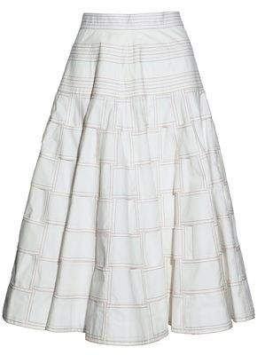 Thom Browne Checked Cotton Flared Midi Skirt