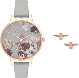 Olivia Burton Marble Floral Leather Strap Watch Set, 34mm