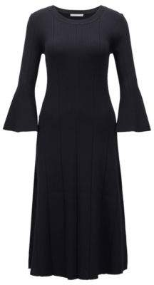 BOSS Hugo Slim-fit dress ribbed structure & flared sleeves S Open Blue