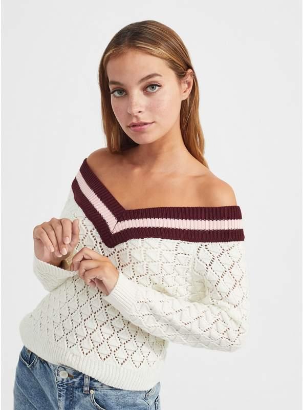Petite Cream Bardot Knitted Jumper