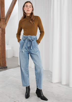 And other stories High Belted Organic Cotton Jeans