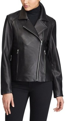 Women's Lauren Ralph Lauren Leather Moto Jacket $440 thestylecure.com