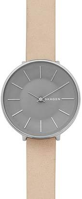 Skagen Karolina Nude-Tone Leather Strap Watch, 38mm