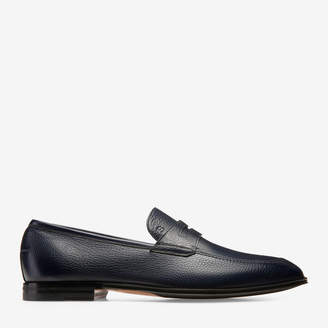 Bally Webb Blue, Men's grained deer leather penny loafer in ink