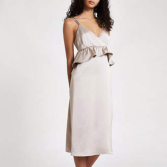 River Island Womens Silver satin frill strappy slip dress
