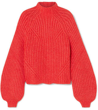 Ulla Johnson Micha Ribbed Alpaca-blend Turtleneck Sweater - Crimson