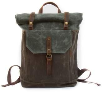 EAZO - Waxed Canvas Roll-Top Backpack in Deep Green