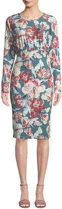 Alexia Admor Blouson-Bodice Floral-Print Midi Dress