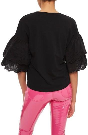 Women's Topshop Eyelet Layer Sleeve Tee T-Shirt 2