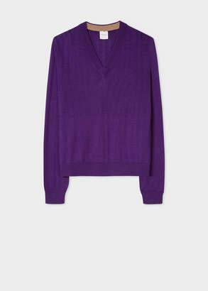 Paul Smith Women's Purple V-Neck Wool-Silk Sweater With Openwork Details