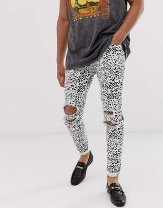Asos Design DESIGN super skinny jeans in leopard print with rips