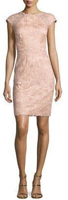 Tadashi Shoji Cap-Sleeve Rose Lace Sheath Dress, Pink $370 thestylecure.com