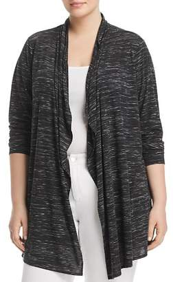 Andrew Marc Plus Space-Dyed Draped-Front Cardigan