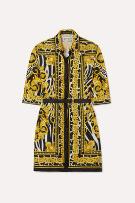 Versace Belted Printed Silk-twill Mini Dress - Yellow
