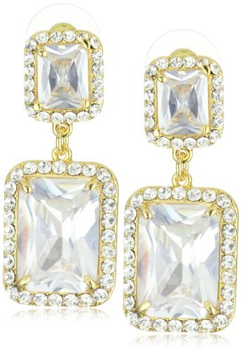 Leslie Danzis Gold-Tone Modern Square Earrings with Cubic Zirconia 1.5