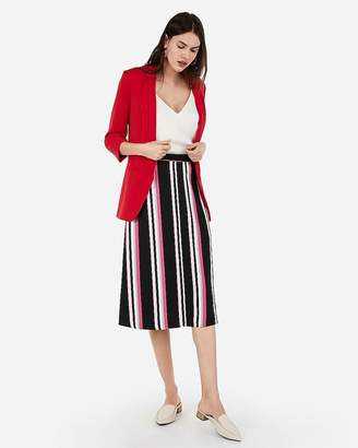 04dfbd21ad Express High Waisted Striped Front Slit Midi Skirt