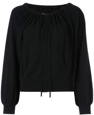 Nili Lotan elasticated neckline zip cardigan