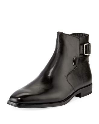 Karl Lagerfeld Paris Wrap-Strap Mixed Leather Boots