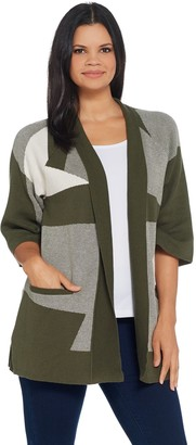 Halston H By H by Patchwork Jacquard Kimono Sleeve Cardigan