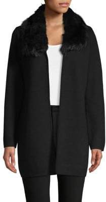 Kasper Suits Hooded Faux Fur-Trimmed Cardigan