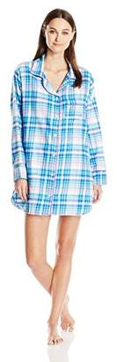 Bottoms Out Women's Button-Front Plaid Sleep Shirt with Piping