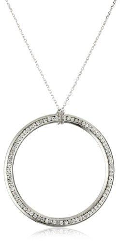 Leslie Danzis Silver-Tone Cubic Zirconium Modern Circle Necklace, 30