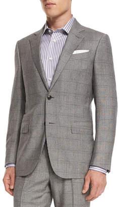 Ermenegildo Zegna Plaid Wool Two-Piece Suit, Black/White