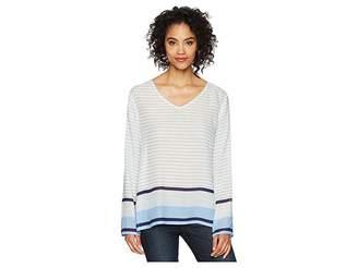 True Grit Dylan by Surf Stripe Long Sleeve Soft Rayon Blouse Women's Blouse
