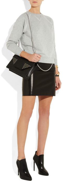 Saint Laurent Chain-trimmed leather mini skirt