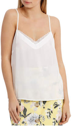 Miss Shop Hammered Lace Trim Cami - White