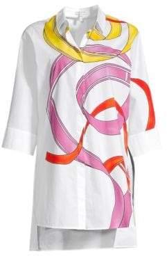Escada Sport Naidelle Ribbon Print Tunic Shirt