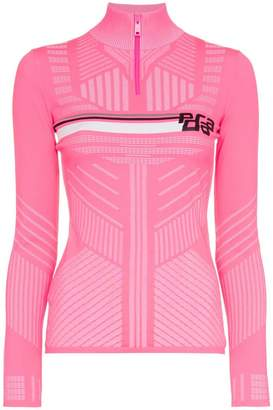 Prada high neck logo knitted top
